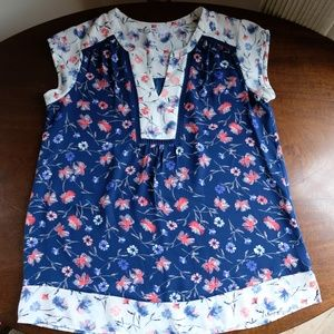 DR2 Floral Short Sleeve Tunic Blouse